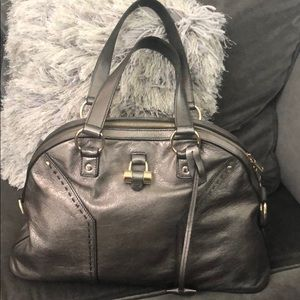 YVES SAINT LAURENT GUNMETAL SHOULDER BAG